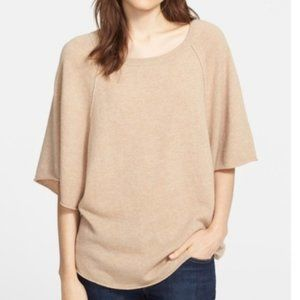 Joie Jolena Wool Cashmere Poncho Tan Gold Sweater